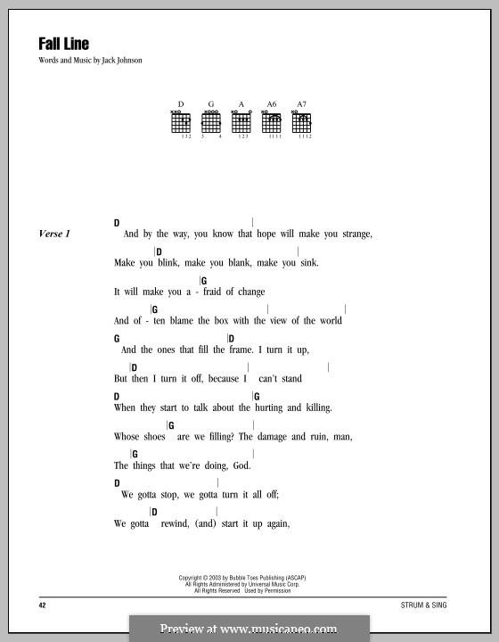 Fall Line: Lyrics and chords by Jack Johnson