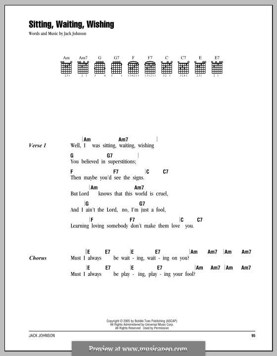 Sitting, Waiting, Wishing: Lyrics and chords by Jack Johnson