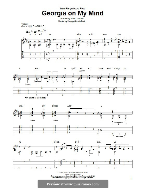 Georgia on My Mind: For guitar with tab by Hoagy Carmichael