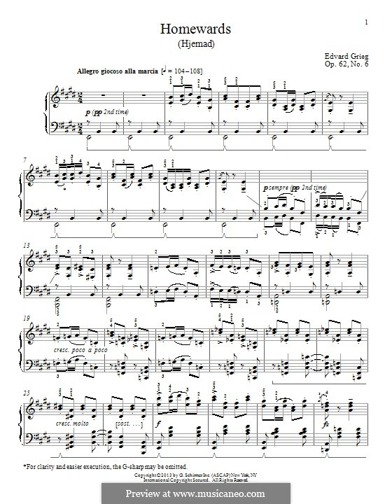 Lyric Pieces, Op.62: No.6 Homeward by Edvard Grieg