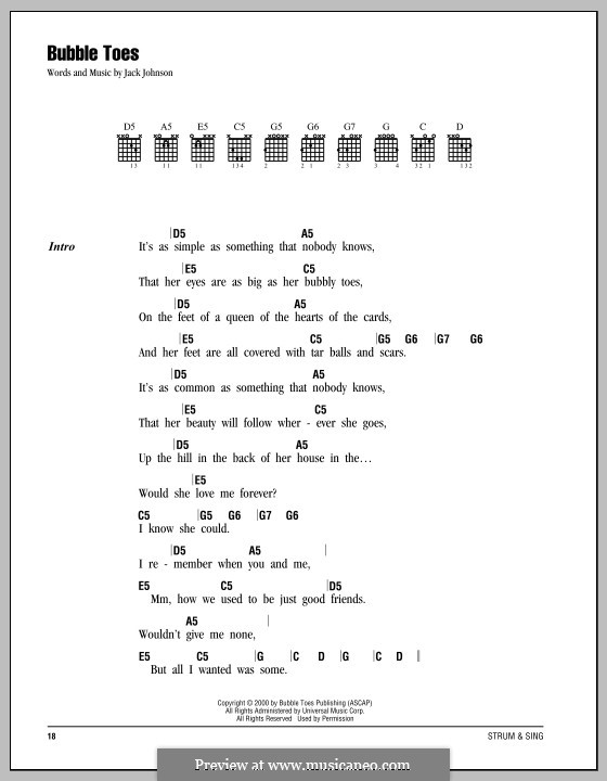 Bubble Toes By J Johnson Sheet Music On Musicaneo