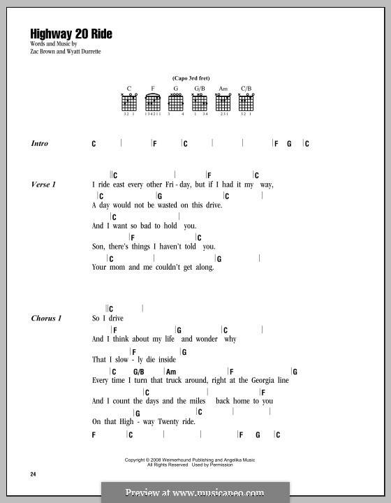 Highway 20 Ride (Zac Brown Band): Lyrics and chords by Wyatt Durrette, Zac Brown