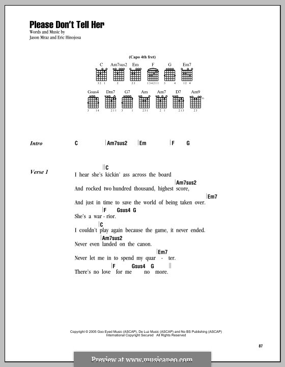 Please Don't Tell Her: Lyrics and chords by Eric Hinojosa