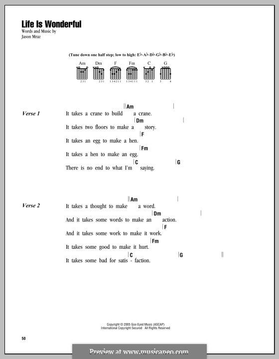 Life Is Wonderful: Lyrics and chords by Jason Mraz