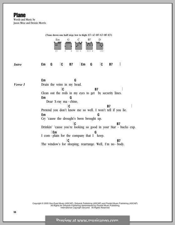 Plane: Lyrics and chords by Dennis Morris
