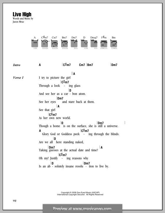 Live High: Lyrics and chords by Jason Mraz