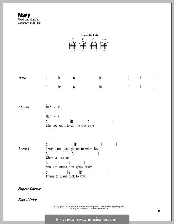 Mary (Zac Brown Band): Lyrics and chords by J Cline, Zac Brown