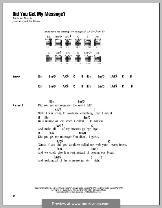 Did You Get My Message?: Lyrics and chords by Daniel Wilson