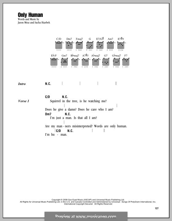 Only Human by S. Skarbek - sheet music on MusicaNeo