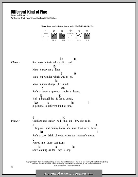 Different Kind of Fine (Zac Brown Band): Lyrics and chords by Geoffrey Stokes Nielson, Wyatt Durrette, Zac Brown