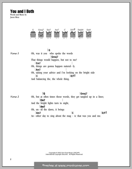 You and I Both by J. Mraz - sheet music on MusicaNeo