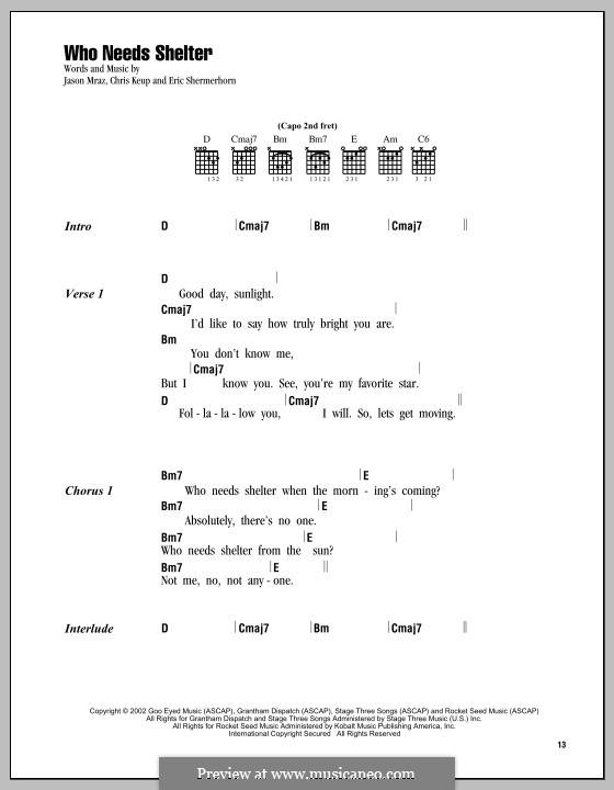 Who Needs Shelter: Lyrics and chords by Chris Keup, Eric Shermerhorn