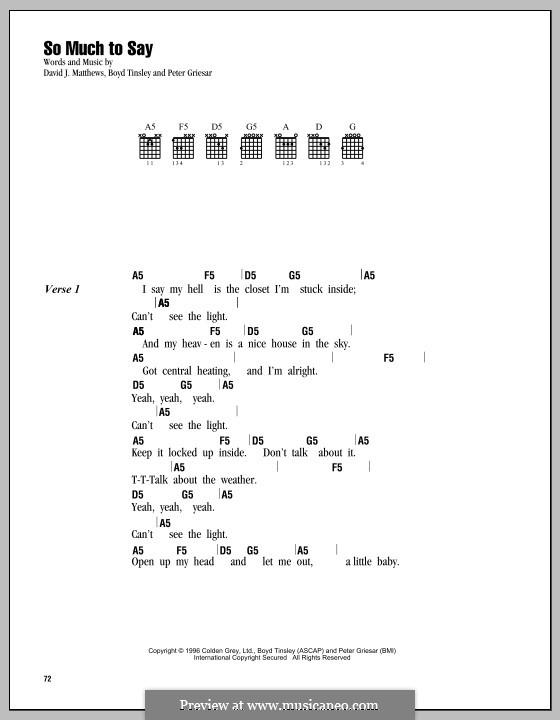 So Much to Say (Dave Matthews Band): Lyrics and chords by Boyd Tinsley, David J. Matthews, Peter Griesar