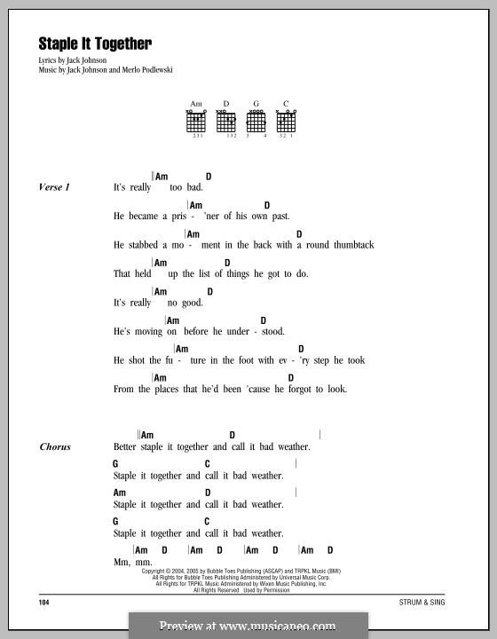 Staple It Together: Lyrics and chords by Merlo Podlewski