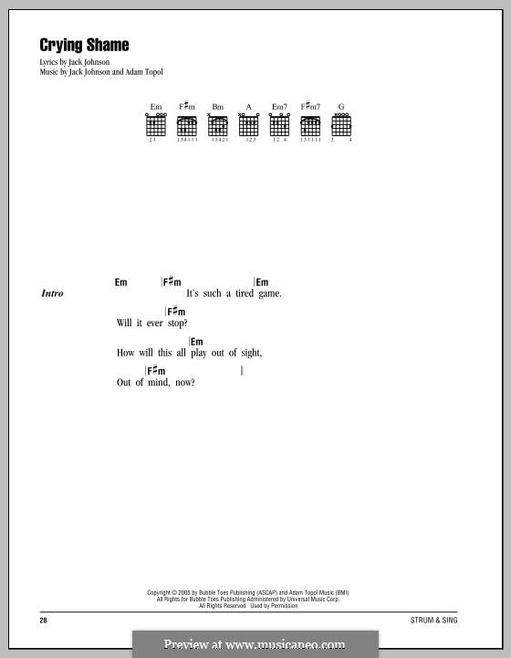 Crying Shame: Lyrics and chords by Adam Topol