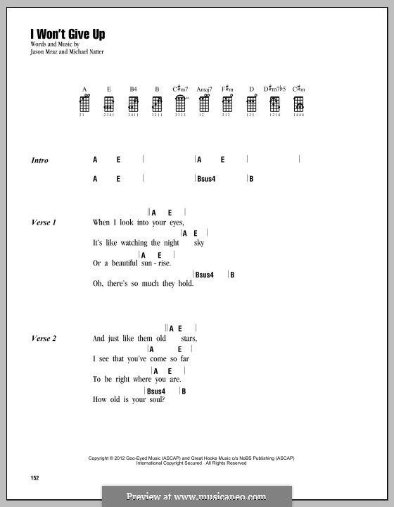 I Won't Give Up: For ukulele by Jason Mraz, Michael Natter