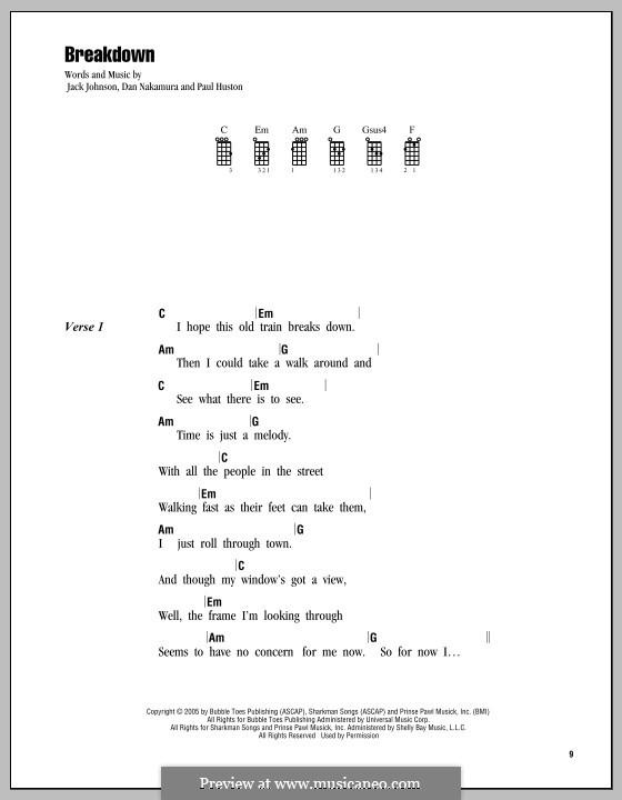 Breakdown (Jack Johnson): For ukulele by Daniel Nakamura, Paul Huston