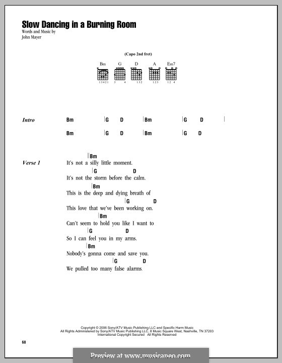 Slow Dancing in a Burning Room: Lyrics and chords by John Mayer