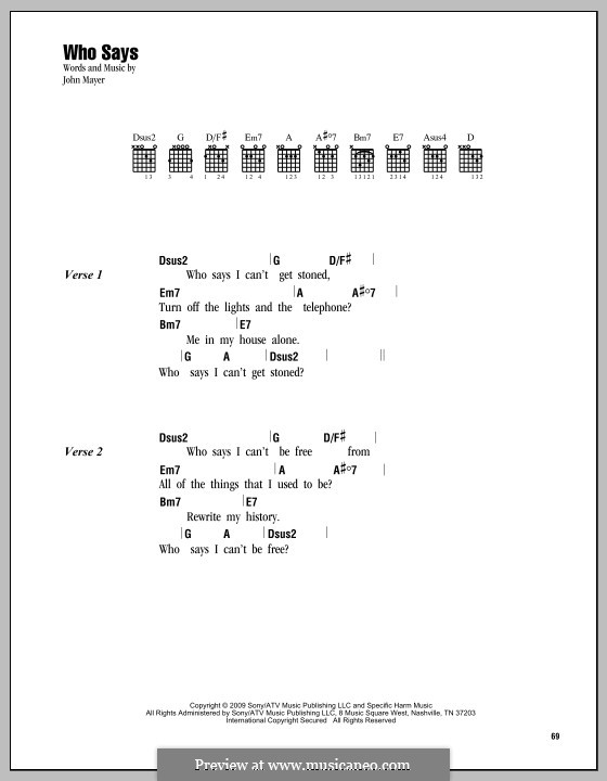 Who Says: Lyrics and chords by John Mayer
