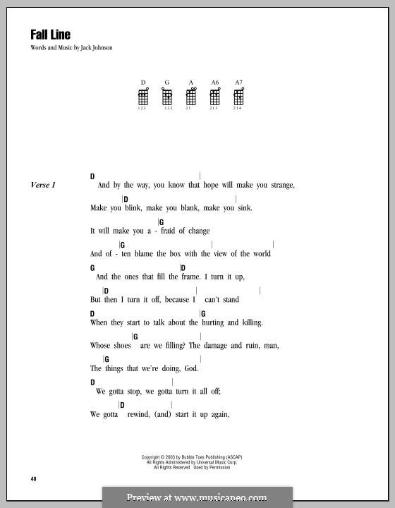 Fall Line: For ukulele by Jack Johnson