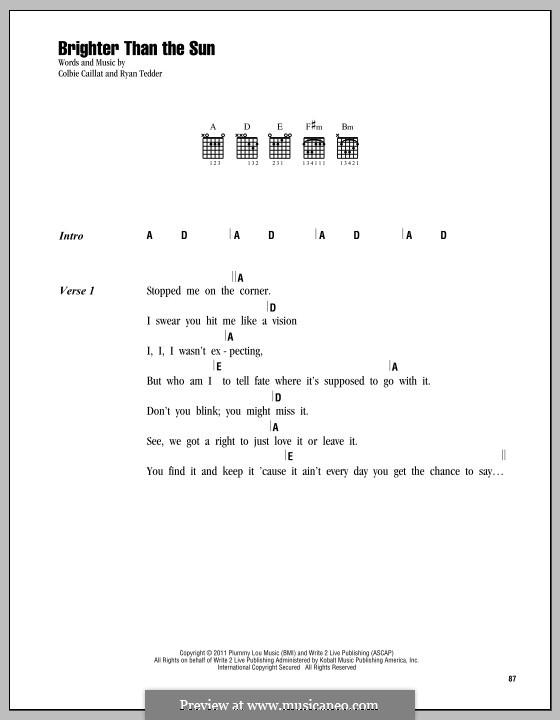 Brighter Than the Sun: Lyrics and chords by Ryan B Tedder