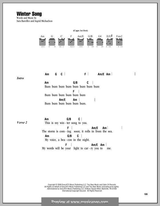 Winter Song: Lyrics and chords by Ingrid Michaelson