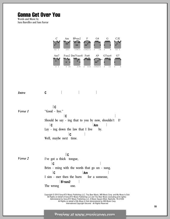 Gonna Get Over You (Sara Bareilles): Lyrics and chords by Sam Farrar