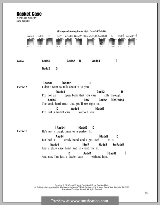 Basket Case by S. Bareilles - sheet music on MusicaNeo