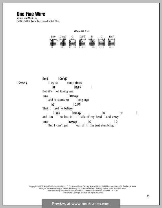 One Fine Wire: Lyrics and chords by Jason Reeves, Mikal Blue
