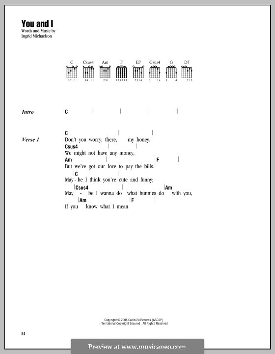 You and I: Lyrics and chords by Ingrid Michaelson