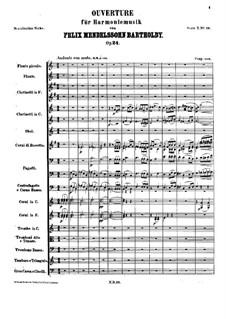 Overture for Wind Instruments, Op.24: Full score by Felix Mendelssohn-Bartholdy