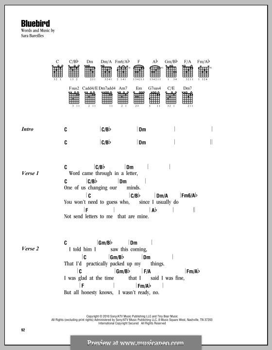 Bluebird By S Bareilles Sheet Music On Musicaneo