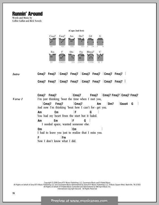 Runnin' Around (Colbie Caillat): Lyrics and chords by Rick Nowels