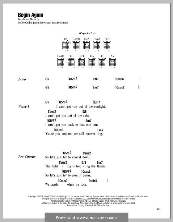 Begin Again: Lyrics and chords by Jason Reeves, Kara DioGuardi