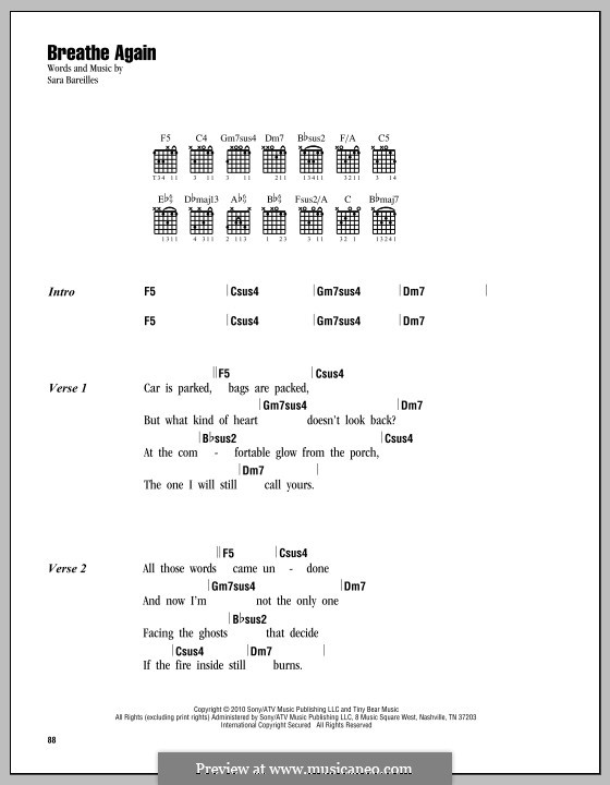 Breathe Again By S Bareilles Sheet Music On Musicaneo