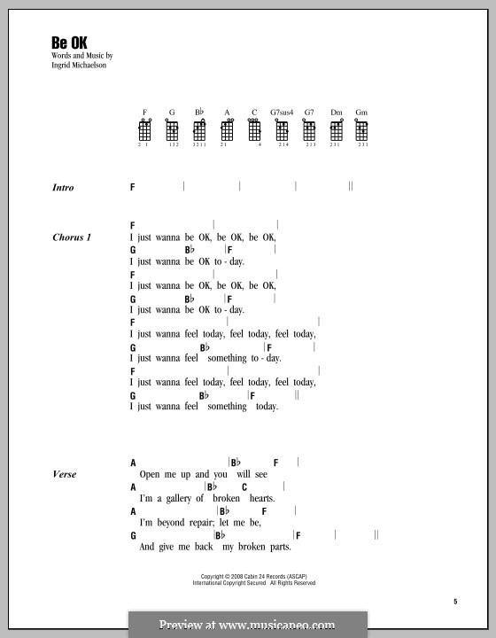 Be OK: For ukulele by Ingrid Michaelson