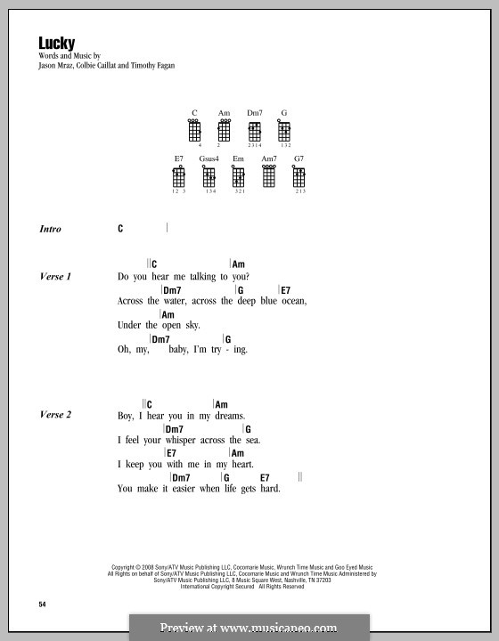 Lucky: For ukulele by Colbie Caillat, Jason Mraz, Timothy Fagan