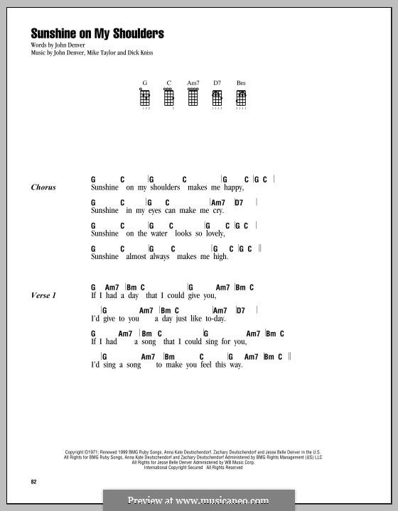 Sunshine on My Shoulders: For ukulele by Dick Kniss, John Denver, Mike Taylor