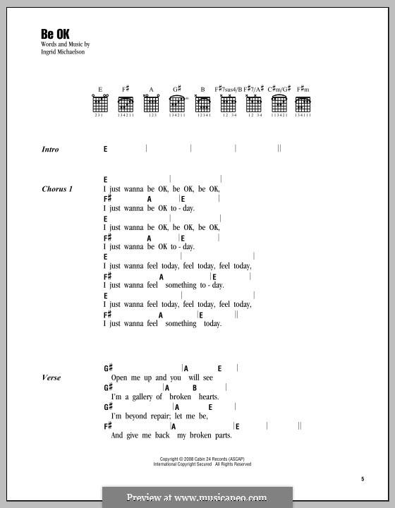 Be OK: Lyrics and chords by Ingrid Michaelson