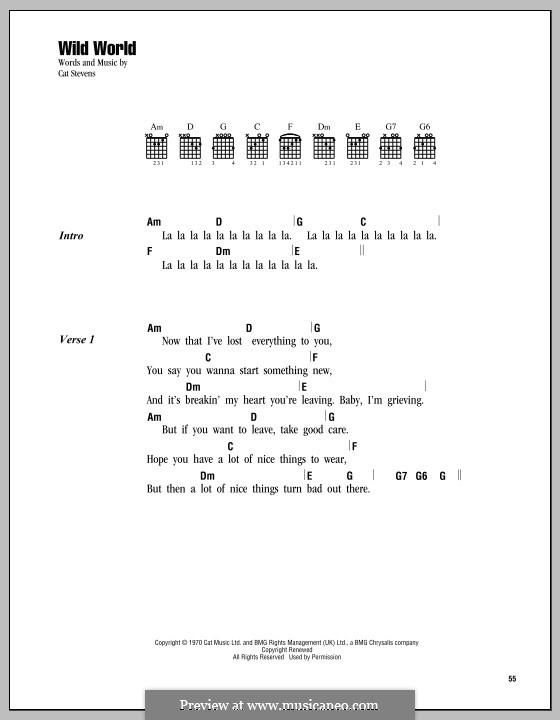 Wild World by C. Stevens - sheet music on MusicaNeo
