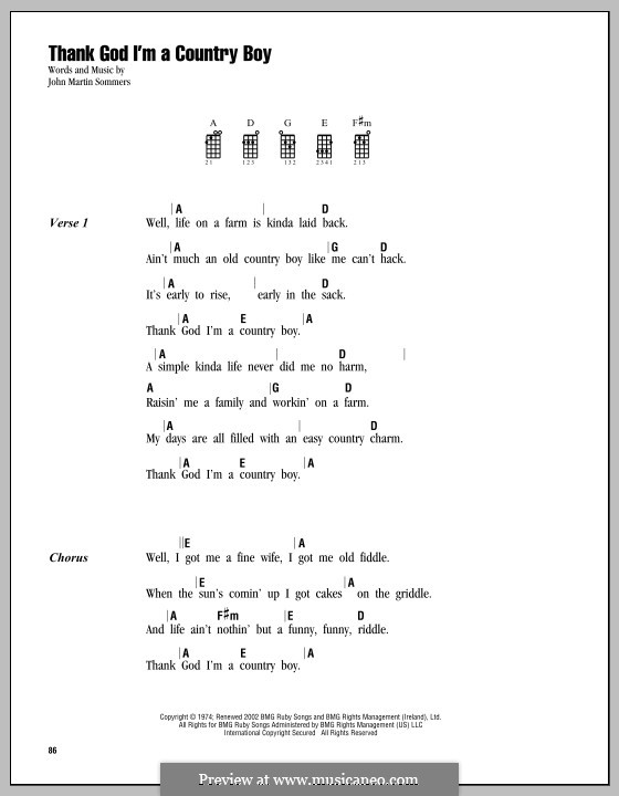 Thank God I'm a Country Boy: For ukulele by John Martin Sommers