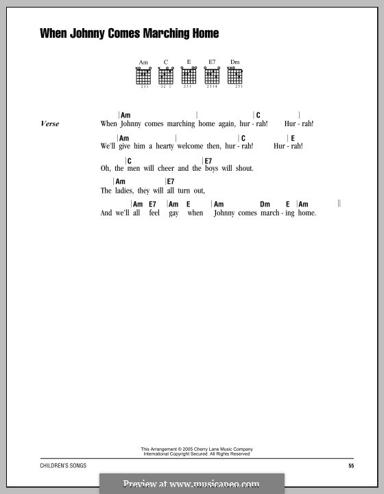 When Johnny Comes Marching Home: Lyrics and chords by Patrick Sarsfield Gilmore