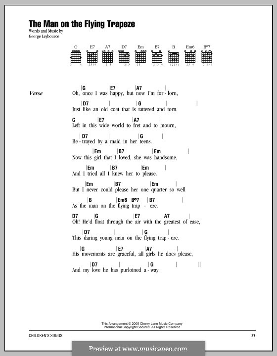 The Man on the Flying Trapeze: Lyrics and chords by Alfred Lee
