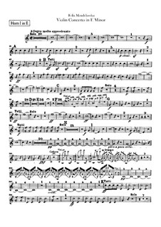 Concerto for Violin and Orchestra in E Minor, Op.64: Horns parts by Felix Mendelssohn-Bartholdy