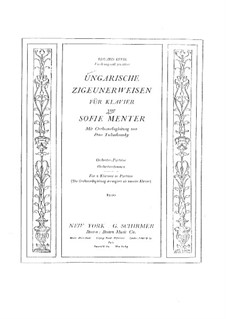 Hungarian Gypsy Melodies, TH 193: For two pianos four hands by Sophie Menter