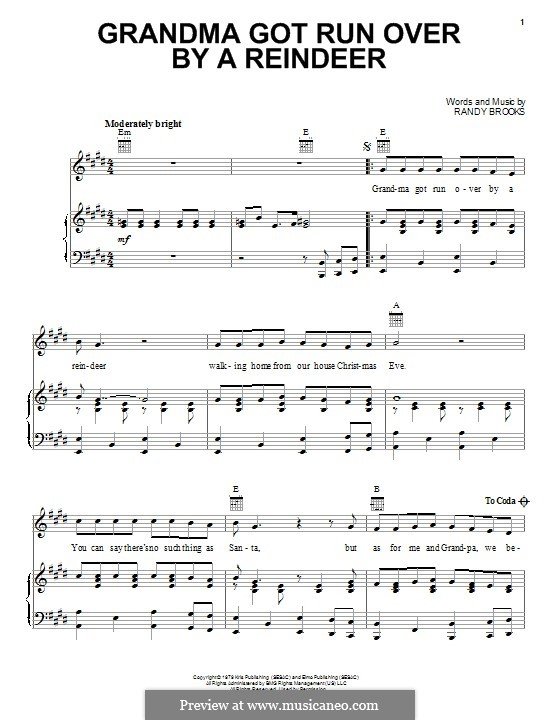 Grandma Got Run Over By a Reindeer: For voice and piano (or guitar) by Randy Brooks