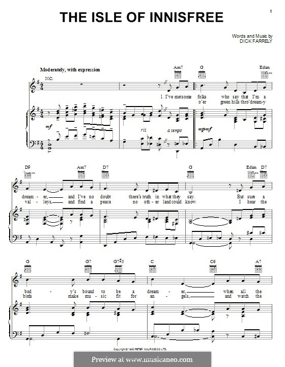 The Isle of Innisfree: For voice and piano (or guitar) by Dick Farrelly