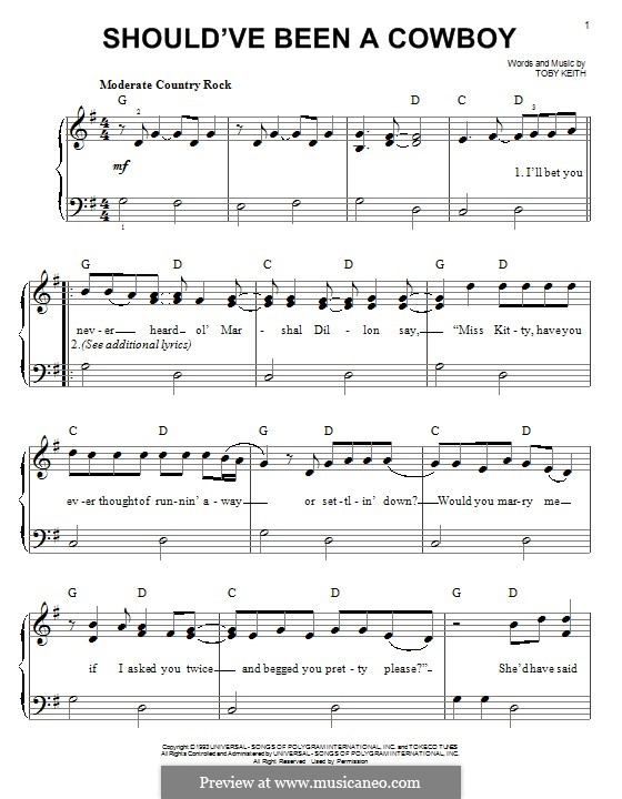 Shouldve Been A Cowboy By T Keith Sheet Music On Musicaneo