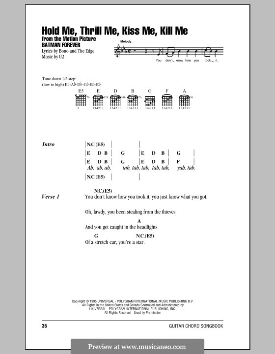 Hold Me Thrill Me Kiss Me Kill Me By U2 Sheet Music On Musicaneo