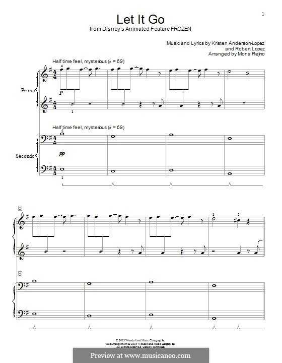 Let It Go (from Frozen): For piano four hands by Robert Lopez, Kristen Anderson-Lopez